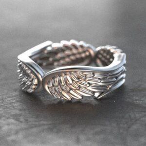 Angelic angels wings ring silver men women jewelry