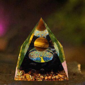 Tiger Eye Orgone Pyramid EMF Protection Energy Orgonite